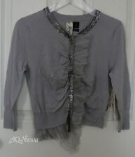 BIRD by JUICY COUTURE Cashmere Chiffon Gray Sequin Cardigan Sweater MEDIUM $298