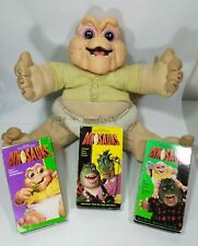 """Vintage 1991 Hasbro Talking Baby Sinclair """"Not The MAMA""""  Stained + 3 VHS Tape."""