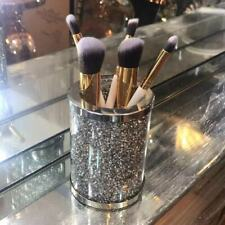 CRYSTAL FILLED MAKE UP HOLDER TOOTHBRUSH DIAMOND CRUSHED JARS CANISTERS STORAGE
