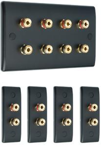 4.0 Matt Black Surround Sound Audio AV Speaker Wall Face Plate Kit - NON SOLDER