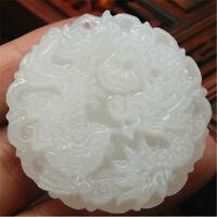 Blanco jade chino natural Mano-tallado colgante dragón y Phoenix Amuleto