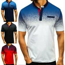New listing Polo Shirts Mens Tee Top Short Sleeve Muscle Comfy T Shirt Golf Plain Clothes US
