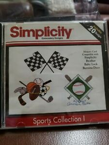 Simplicity Sports 1 Embroidery Designs Card for Deco Brother Baby Lock White