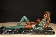 """Bronze Victorian Lady """"Caress"""" Real Bronze with Marble Base"""