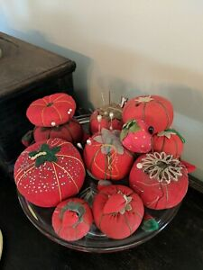 Vintage Lot 10 Tomato Pin Cushions 6 w/attached strawberries, 4 w/o