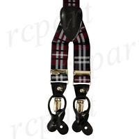 New Y back Men/'s Vesuvio Napoli Suspenders Braces clip on beige black Stripes