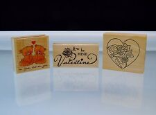 Valentine Rubber Stamps I'm Glad There's You Be My Valentine Lot of 3 Stamps New