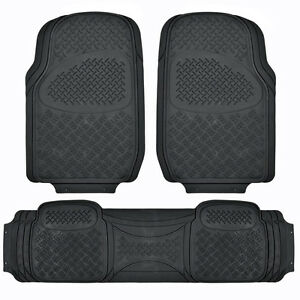 Heavy Duty All WEATHER Black Mat 3 PC Pads Liner CAR RUBBER FLOOR Mats XL