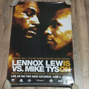 Original 2002 Mike Tyson vs. Lennox Lewis Boxing Fight Poster 27x40