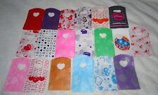 50 HEART PATTERNED SMALL PLASTIC GIFT JEWELLERY PARTY BAGS 15x9cm B