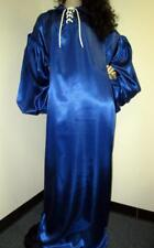 "Vintage: Satin! ""Special Cut� Royal Blue Satin Balloon Shirt Style Gown"
