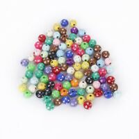 1X(Lot of 100 plastic acrylic beads colored with strass glitter 8mm B9Y7)