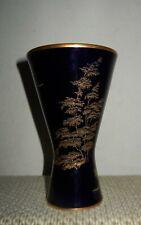 """Germany Hutschenreuther Hohenberg Porcelain Gold Overlay Cobalt Kobalt Vase 5""""H"""