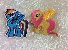Embroidered Fluttershy With Wings & Rainbow Dash Patch. Iron or Sew UK Seller