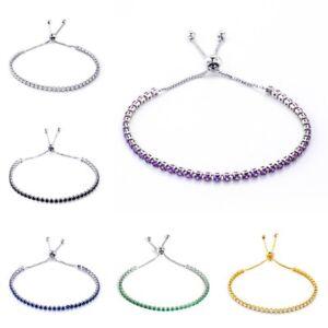 Women Fashion White Gold Filled Green/Black/Purple/White/Blue CZ Bangle Bracelet
