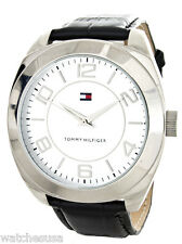 Tommy Hilfiger Men's Silver Dial Black Leather Band Chronograph Watch