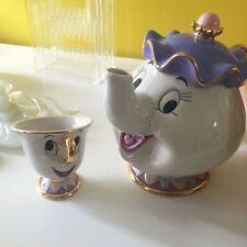 Tea Pot Cup Set Disney Beauty And The Beast Mrs Potts Chip Ceramic Ornament New