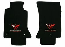 Lloyd Mats ULTIMAT FRONT FLOOR MATS Red/Silver Corvette Racing Logo on Black Mat