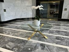 Gorgeous Contemporary Gold Base And Glass Table Dining/foyer