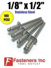 "(Qty 100) Pop Rivets All Stainless Steel 4-8 1/8"" x 1/2"" Grip Range"