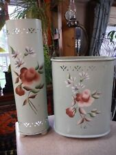 VIntage Detecto Mint Green with Tole ware painted Flowers - Caddy & Waste Can