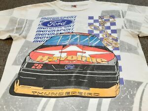 VTG 90s NASCAR #28 Davey Allison FORD Texaco Havoline All Over Print T Shirt L