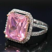 5 Ct Cushion Cut Pink Sapphire Moissanite Halo Ring 14K Gold Plated Size 6