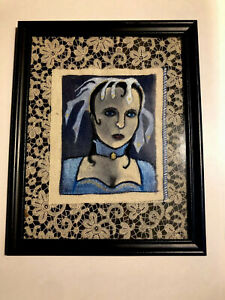 """Vintage Folk Art Painting """"The Witch of Haddonfield"""" on cloth 5"""" x 6"""" framed"""