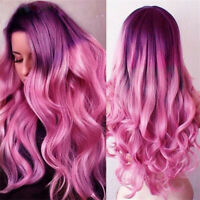 Women Fashion Purple To Pastel Pink Long Wave Wavy Hair Synthetic Full Wigs