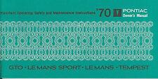 1970  70     PONTIAC  GTO/TEMPEST OWNER'S  MANUAL