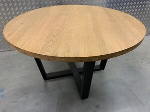 John Lewis Calia Solid Oiled Oak Industrial Syle Round Kitchen Dining Table
