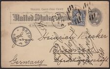 1892 1¢ GRANT POSTAL CARD UX10 SENT TO GERMANY, WITH 1¢ #219 ADDED TO UPRATE