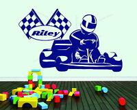 Go Kart Personalised Name Karting Checkered Flag Racing Decor Vinyl Wall Sticker