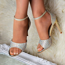 Womens High Heel Diamante Sandals Ankle Strap Peep Toe Shoes Evening Party Size