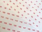 rojo sobre transparente 13mm Redondo consecutivos SECUENCIALES Número Etiquetas