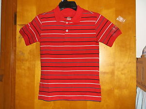 NEW BOY'S FADED GLORY RED w/ BLK & GREY PIN STRIPE S/S  2 BUTTON POLO SHIRT #1