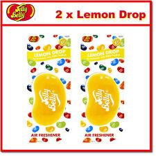 2 x Jelly Belly 3D Bean Hanging Car Air Freshener - Lemon Drop Scent