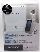 Sony CP-W5 5000mAh Portable Qi Wireless Power Pack Charging Mat - White
