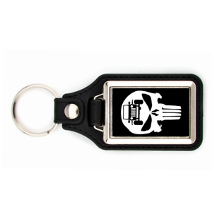 SCULL PUNISHER JEEP KEYCHAIN WITH BLACK BACKGROUND KEY CHAIN GRILL