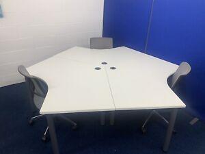 White 120 degree Segment Desks Bargain £69 Each Desk (50 In Stock)