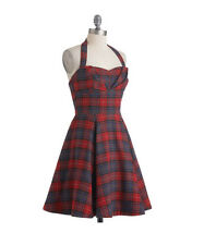 Vintage Style Plaid Tartan Halter Dress 40's 50's Retro Rockabilly Westwood SM