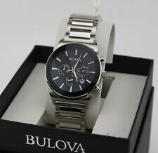 NEW AUTHENTIC BULOVA SILVER BLACK CHRONOGRAPH MEN'S 96B203 WATCH BOOK850
