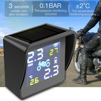 Solar Motorcycle TPMS Tire Pressure Monitoring Alarm System with 2 Sensors