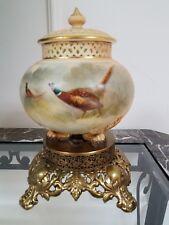 Antique Royal Worcester George Grainger & Co. Reticulated Porcelain Vase & Cover