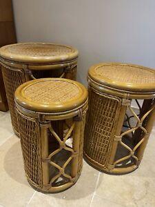 Bamboo Tiki MCM Boho Nest of Three Round Tables