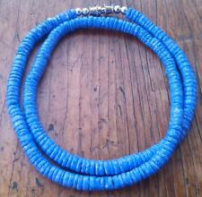 Blue / Purple Puka Clam Shell Beads Beach Surfer Necklace 17 1/2 inch Blue Dyed