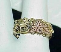 10K Black Hills Gold Wide Band Ring Grapes Leaves Size 8 Awesome! 3.0 Grams