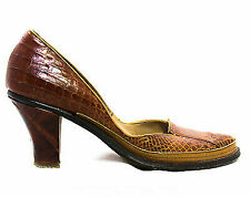 1940s Alligator Leather Shoes Size 6 Aa Narrow Caramel Brown Tan Exotic Heels
