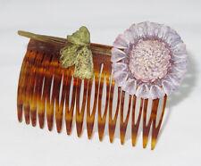 French Monique Vedie Paris Celluloid Hair Comb Rare Vintage Talosel Flower