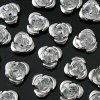 50 Silver Aluminum Rose Flowers Spacer Beads DIY Embellishment Jewelry Craft 8mm